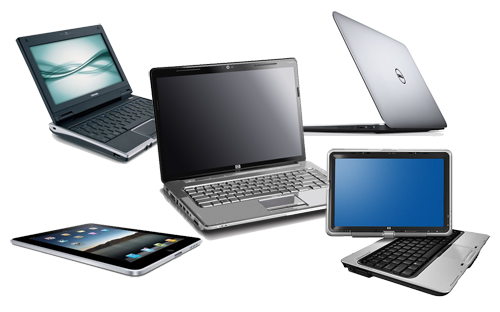 Several laptop notebooks on a table