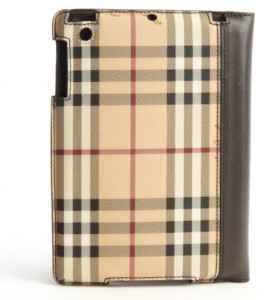 Canvas check and leather IPad Case