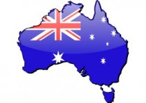 Map of Australia with embedded flag