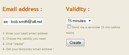 sites to generate an instant fake temporary email address
