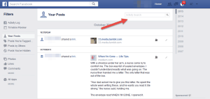 Search box in the Facebook activity log