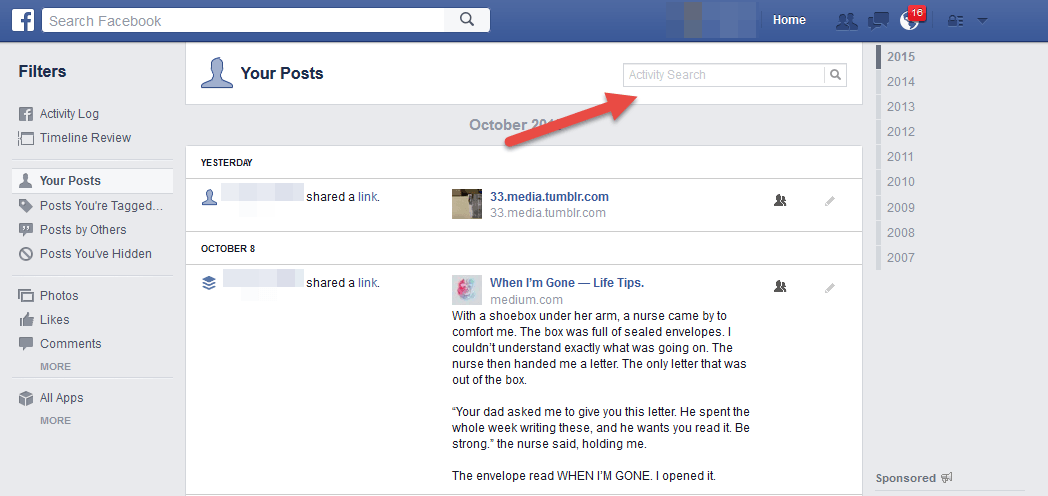 How to permanently delete your facebook account search box in the facebook activity log ccuart Choice Image