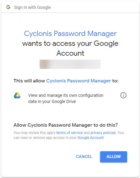 Cyclonis Password Manager - Access Google Account