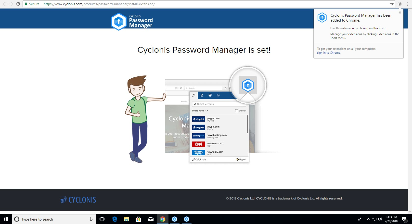 Cyclonis Password Manager - Added to Chrome