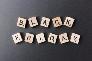 Black Friday spelled with Scrabble letters
