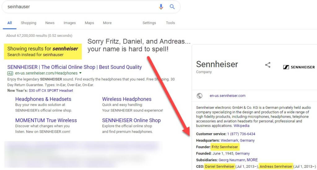 Google search results fix my spelling of Sennhaiser