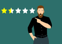 Man shocked and pointing at 1.5 star review