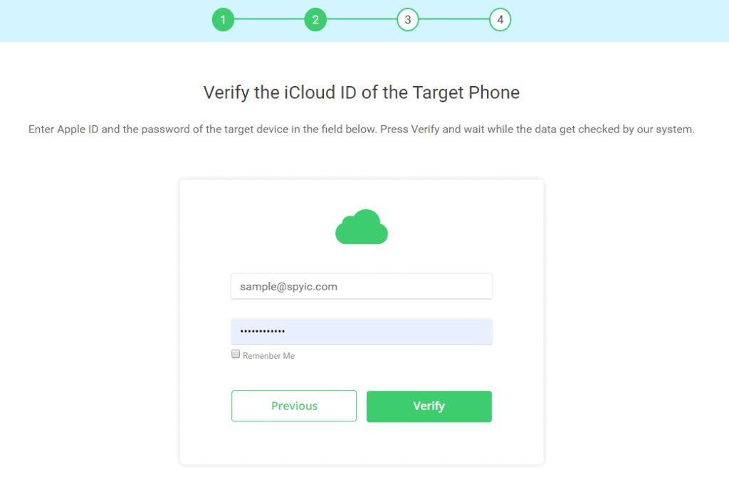 Graphic of Spyic iCloud verification screen