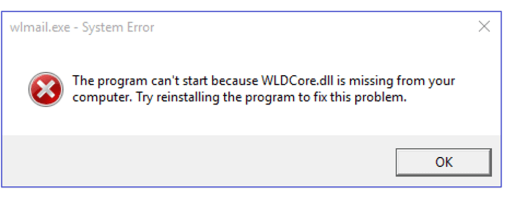 Fix the wldcore.dll error message on Windows