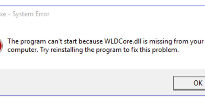 wldcore.dll error messages on Windows