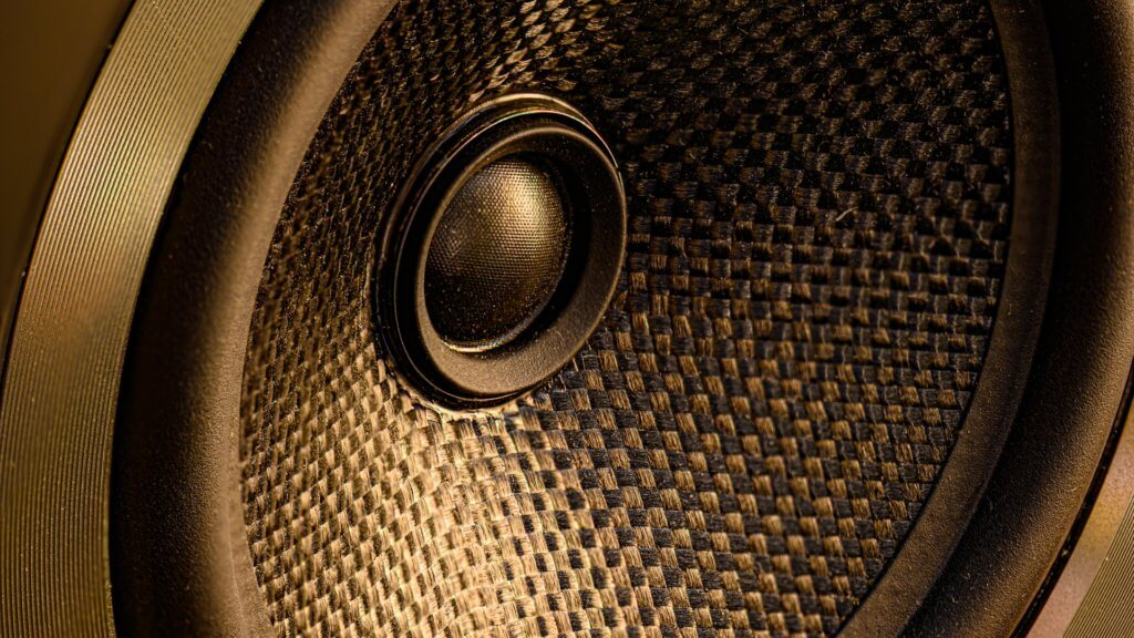 Black and brown rounded speaker