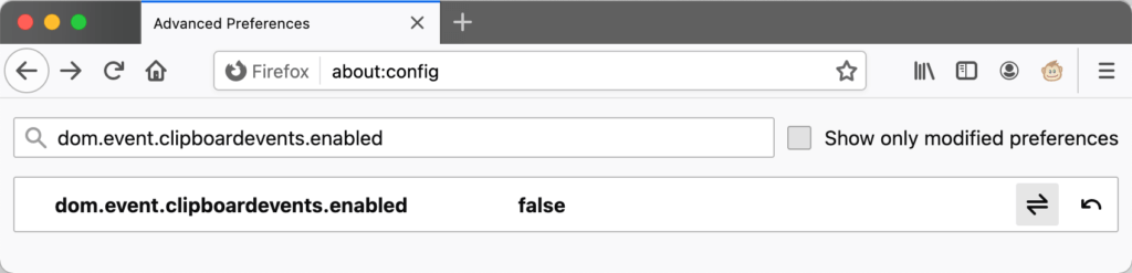 Allow copy and paste in Firefox through preferences