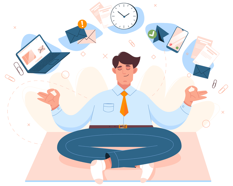 Alternative ways to outsource your IT work - vector image of man doing yoga thinking about work